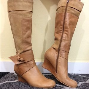 Beige Leather Knee High Wedge Boots